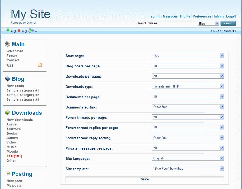 Diferior installation screenshot