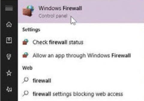 find firewall win 10