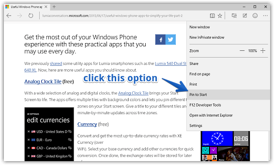 How to Bookmark Your Favorite Pages to the Start Menu in Windows 10