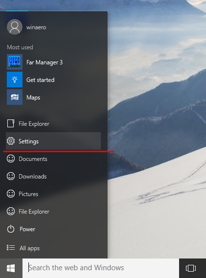 win 10 settings start menu