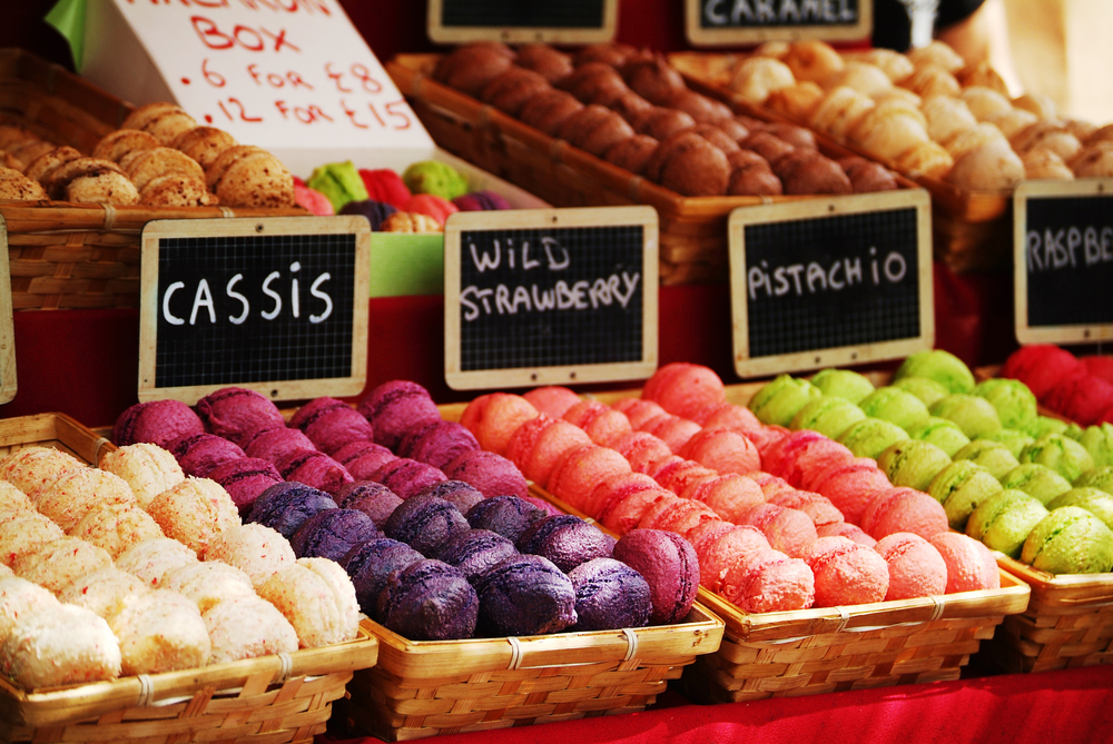 colorful macaroons in a Camden Market stall