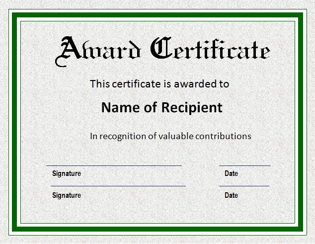 how to make an award certificate